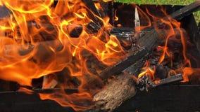 Le beau feu rouge du bois de tranche, charbons noirs gris-foncé à l'intérieur de brasero en métal clips vidéos
