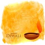 Le beau fond de diwali avec le diya et l'aquarelle souillent Image stock