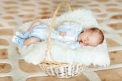 Le beau garçon nouveau-né de sommeil est habillé dans des combinaisons et les butins se situe dans le panier Image stock