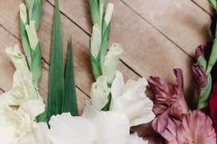 Le beau glaïeul dans différentes couleurs fleurit sur rustique en bois Photos libres de droits