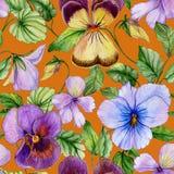 Le beau grand alto vif fleurit avec les feuilles vertes sur le fond orange Modèle floral sans couture de ressort ou d'été illustration stock