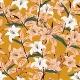 Le beau grand lis de floraison fleurit le modèle sans couture botanique illustration stock