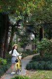 Le beau jaune adorable mignon heureux chinois asiatique de tour d'étudiant a partagé la bicyclette en parc extérieur en été photographie stock