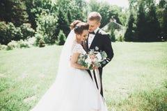 Le beau jeune couple de mariage est embrassant et souriant en parc Images stock
