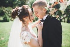 Le beau jeune couple de mariage est embrassant et souriant en parc Photos libres de droits