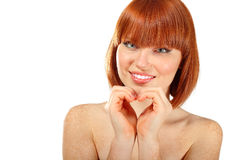 Le beau jeune de femme effectue le coeur des mains Image stock