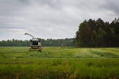 Le beau lansdscape avec la fenaison ou combinent un champ Photos libres de droits