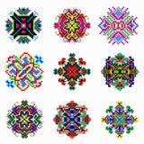 Le beau mandala de couleur de la collection de pixels de vintage objecte Images stock