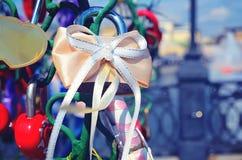 Le beau mariage ferme à clef sur l'arbre de fer de l'amour Photographie stock