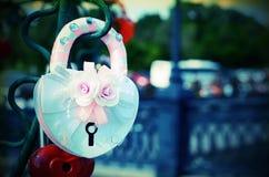 Le beau mariage ferme à clef sur l'arbre de fer de l'amour Images stock