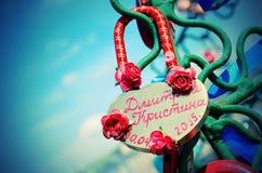 Le beau mariage ferme à clef sur l'arbre de fer de l'amour Images libres de droits