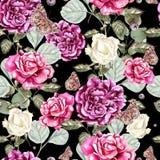 Le beau modèle d'aquarelle avec des fleurs a monté et papillon Images stock