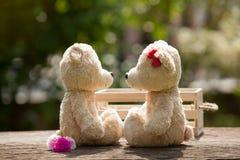 Le beau nounours de baiser concernent le concept de boîte en bois et en bois de l'amour Photos libres de droits