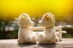 Le beau nounours de baiser concernent le concept de boîte en bois et en bois de l'amour Images stock