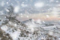 Le beau paysage d'hiver au coucher du soleil vibrant au-dessus de la neige a couvert la campagne dans la tempête de chute de neig image libre de droits