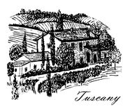 Le beau paysage de dessin de la Toscane met en place avec le beau manoir sur l'illustration tirée par la main de colline Photos libres de droits