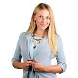 Le beau portrait de sourire de femme d'affaires sur un fond blanc photos stock