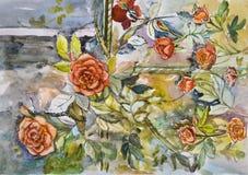 Le beau rouge scénique lumineux peint fleurit l'aquarelle de roses Photo libre de droits