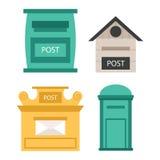 Le beau trottoir rural ouvert et les boîtes aux lettres postales fermées avec la sémaphore marquent l'illustration de vecteur de  illustration de vecteur