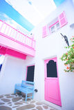 Le beaux balcon et fenêtres dans Santorini garent la Thaïlande Images stock