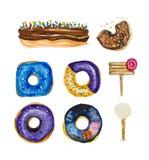 Le beignet amer d'aquarelle dans le lustre de chocolat avec un accent de bonbon a coloré des miettes illustration libre de droits