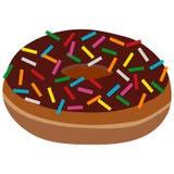 Le beignet avec du chocolat et arrose Photographie stock libre de droits