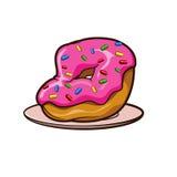 Le beignet dans le givrage rose avec arrose d'un plat Images libres de droits