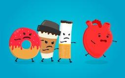 Le beignet fâché, la tasse de papier de café et la cigarette tuent le coeur sain Coeur de santé de cauchemar Défectuosité d'isole illustration de vecteur