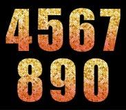 Le bel alphabet à la mode de scintillement numérote avec de l'or à l'ombre rouge illustration de vecteur