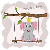 ? le bel animal d'artoon se repose sur une oscillation avec marquer avec des lettres l'éléphant tellement mignon Illustration de Vecteur
