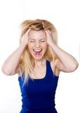 Le bel expressif blond d'émotion de femme d'isolement image libre de droits