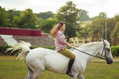 le bel hiver d'horizontal de cheval de fille Images stock