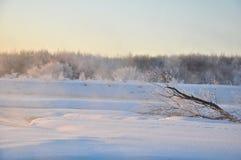 Le bel hiver de coucher du soleil Photo stock