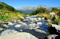 Le bel horizontal du flot pur de montagne Photographie stock libre de droits