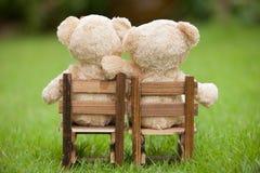 Le bel ours de nounours du brun deux se reposent sur la chaise en bois, pendant le matin, Photographie stock