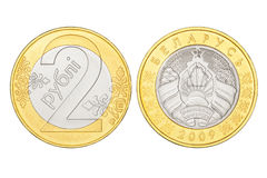 Le Belarus pièce de monnaie de deux roubles Images libres de droits