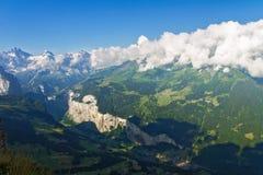 Le belle alpi svizzere abbelliscono con le montagne, le rocce ed il ghiacciaio Fotografia Stock Libera da Diritti