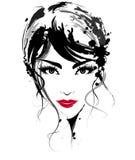 Le belle donne, donne di logo affrontano il trucco su fondo bianco, vettore royalty illustrazione gratis