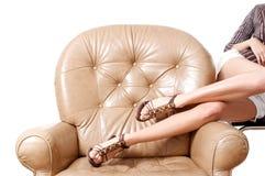 Le belle gambe lunghe della donna Fotografia Stock Libera da Diritti