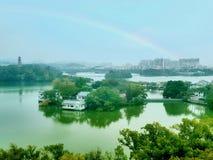 Le belle immagini del lago ad ovest, un punto scenico in Cina immagini stock libere da diritti