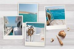 Le belle istantanee della spiaggia hanno sistemato su fondo di legno rustico con le conchiglie intorno Fotografia Stock Libera da Diritti