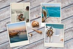 Le belle istantanee della spiaggia hanno sistemato su fondo di legno rustico con le conchiglie intorno Fotografia Stock