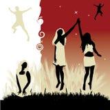 Le belle ragazze ballano, prato Fotografie Stock Libere da Diritti