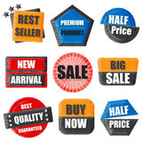 Le best-seller, produit de la meilleure qualité, demi prix, nouveau venu, vente, achat Images libres de droits