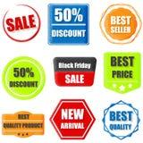 Le best-seller, produit de la meilleure qualité, demi prix, nouveau venu, vente, achat Photographie stock