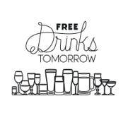 Le bevande libere hanno messo le icone royalty illustrazione gratis