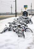 Le biciclette coperte di neve hanno parcheggiato sulla via Immagini Stock