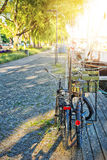 Le biciclette hanno parcheggiato ai ponti nella priorità alta Immagine Stock Libera da Diritti