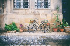 Le biciclette hanno parcheggiato vicino al muro di mattoni di pietra di vecchia casa fra le piante in vasi in Icheri Sheher, Bacu Immagine Stock Libera da Diritti