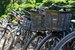 Le biciclette sono parcheggiate Fotografia Stock Libera da Diritti